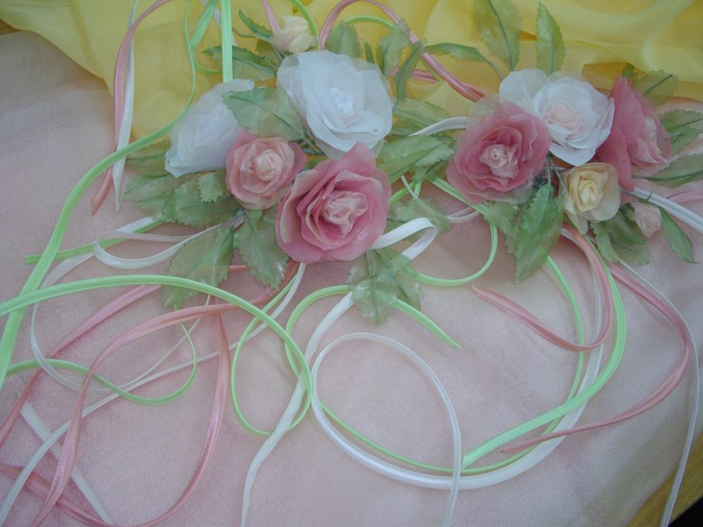 Розы из органзы на шторы